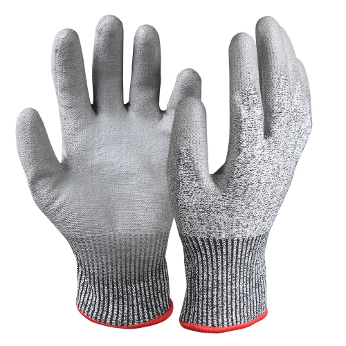 PU coated cut resistant safety work grip Gloves