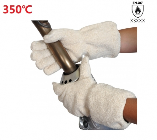 350°C High Heat resistant Cotton Terry cloth loop pile out hot work glove