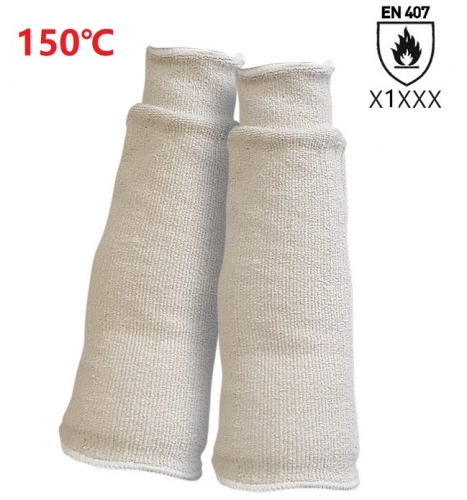 EN407 150℃ Light heat resistant Cotton Terry cloth loop pile sleeve for Bakeries Cold store Metal stamping