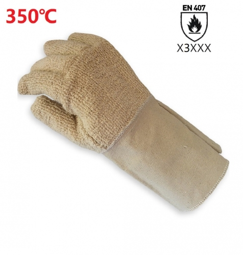350°C Hight Heat resistant Double ply Cotton Terry cloth canvas cuff Gauntlet work safety glove