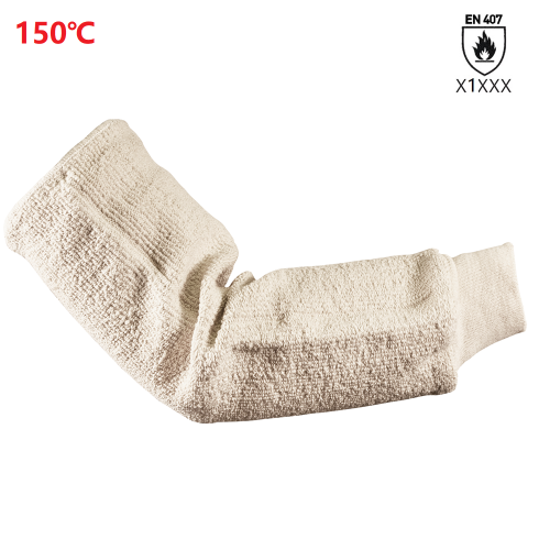 EN407 150℃ Light heat resistant Cotton Terry cloth loop pile sleeve with rib knit cuff