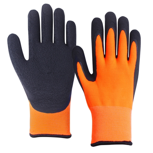 EN511 Cold protection Hi vis Orange Dual layer Winter thermal insulated Grip work Freezer Arctic Glove