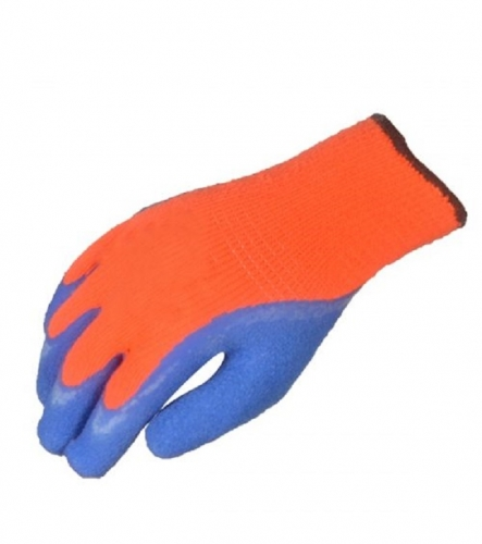Cold Protection Hi Vis Fluorescent Orange Seamless Knit Acrylic terry cloth thermal latex dipped work glove for cold storage