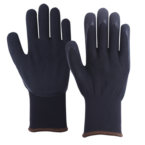 EN511 Cold protection Waterproof Black Dual layer Winter thermal insulated work Grip Glove for Cold storage warehouse