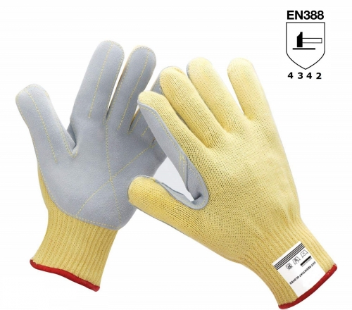 7G Heavy weight anti puncture Chrome Split leather palm knit cut resistant Aramid work glove