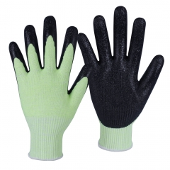 ANSI cut level A6 13G High Visibility yellow HPPE glass steel blend cut resistant work glove with Crinkle Latex Palm Coating