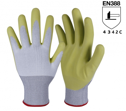 ANSI cut level A3 15G HPPE Polyurethane coated cut resistant safety work grip Gloves