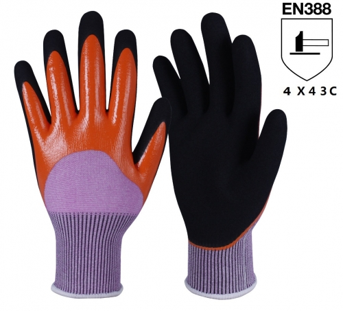 ANSI cut level A3 15G Waterproof Double Dip full Sandy nitrile coated HPPE cut resistant work glove