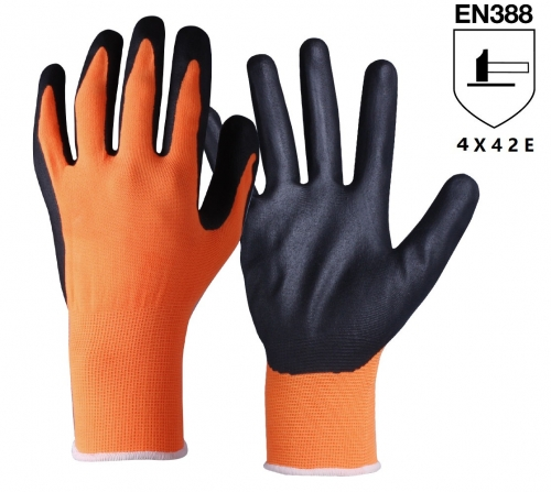 ANSI cut level A5 18G Ultra light weight High Visibility orange HPPE glass steel wire blend cut resistant work glove with PU Palm Coated