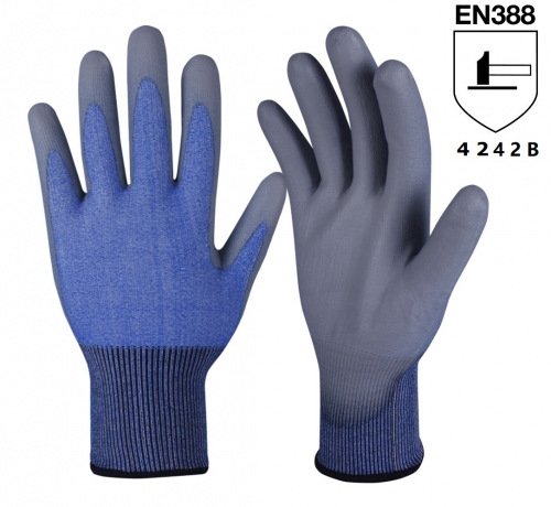 ANSI cut level A2 18G Polyurethane coated HPPE cut resistant safety work grip glove