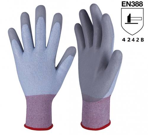 ANSI cut level A2 18G PU coated HPPE cut resistant safety work grip glove