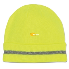 Hi Vis yellow lime fluro Acrylic knitted reflective trim stripe thermal beanie skull hat watch cap