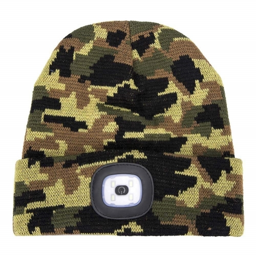 Winter warm Bright LED thermal camouflage Beanie Hat cap with Rechargeable Headlamp for Camping Fishing Hunting Working