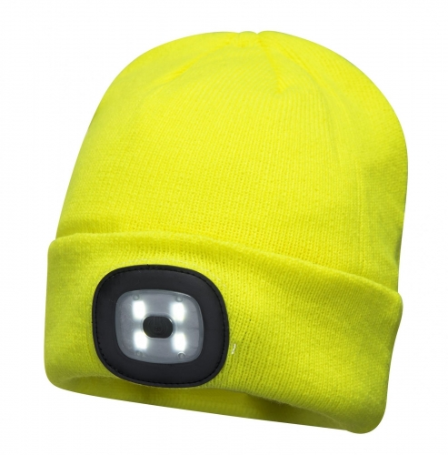 Hi Vis Yellow winter thermal Beanie Hat cap with USB Rechargeable LED Headlamp for Cycling Camping Fishing Hunting Working