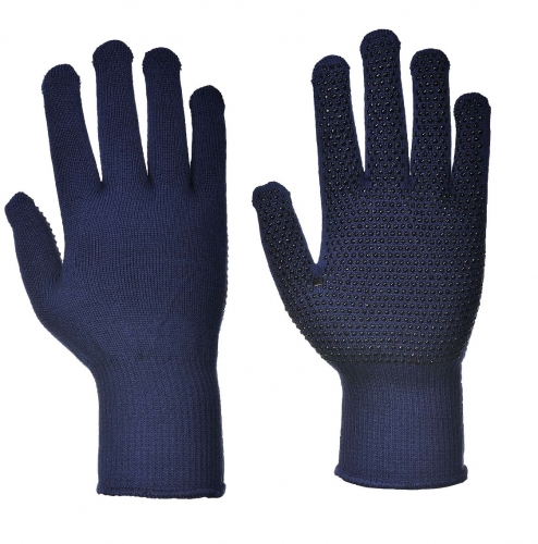 Lightweight thermal thermolite stretch knit glove liner with grip Polka dots for Winter outdoor sport or Cold store freezer