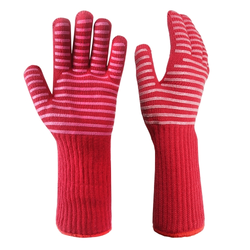 932°F Extreme Heat Resistant Barbecue Grill Pit mitt Gloves Oven Mitts for Cooking, Smoking,Baking, Camping, Fireplace