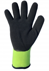 Hi vis yellow double layers thermal grip work glove with acrylic terry loop insulated