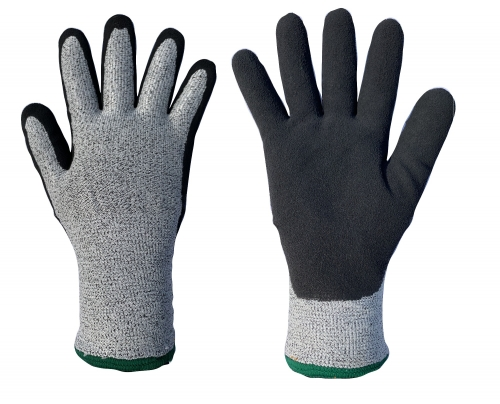 Cut resistant thermal grip work glove with double layers acrylic terry loop insulated