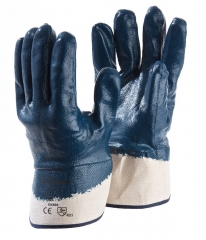 Heavy duty Oil resistant nitrile full coated jersey glove with canvas safety cuff for Automotive