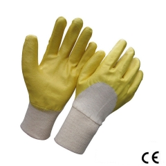Yellow Anti Oil nitrile half coated interlock jersey glove for dry handling and general maintenance