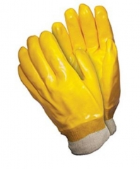 Yellow Oil proof PVC full coated interlock glove for chemical protection or Auto industry