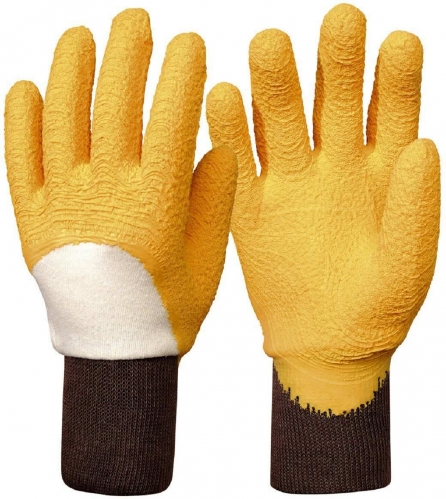 Yellow Ripple finish Latex Coated cotton jersey glove for Agriculture and Gardening
