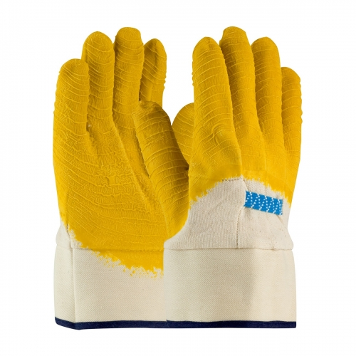 Water resistant Crinkle finish Yellow latex coated jersey glove with canvas safety cuff