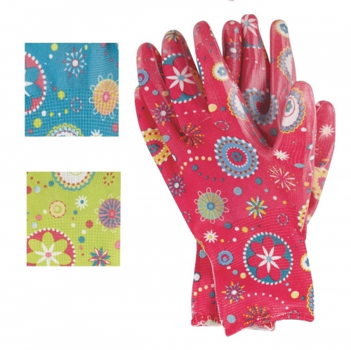 Women Retro flower print work garden glove with nitrile coated for gardening yard work landscaping