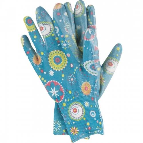 Ladies Flora print nitrile coated work glove for gardening ,Fishing, Clamming, house repair, yard work