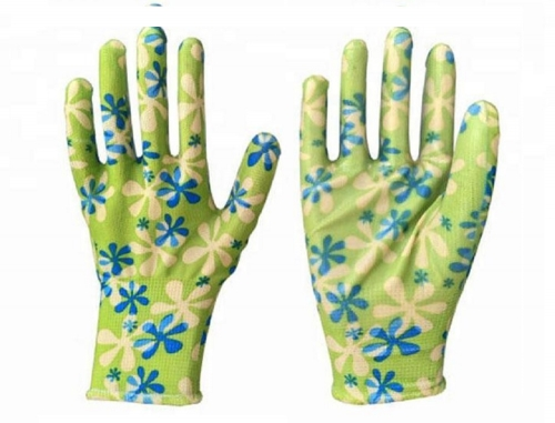 Flora print garden work glove with nitrile coated for home gardening yard work