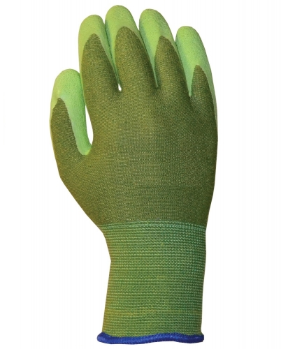 Green Bamboo work glove with Breathable Rubber coated for gardening ,Fishing, Clamming