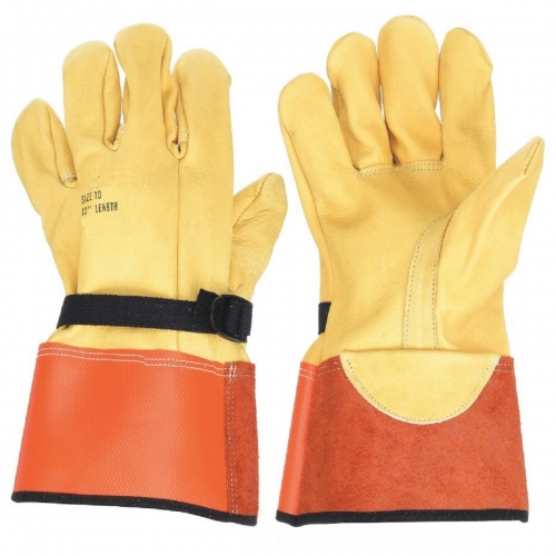 Deliwear High Voltage Goatskin Leather lineman Electrical Glove for Utility Work Linemen Electricians