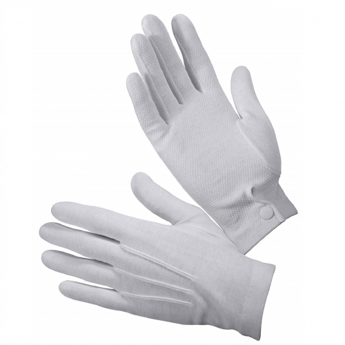 White Cotton Formal Parade Gloves with Snap Cuff for Jewelry inspection Waiter