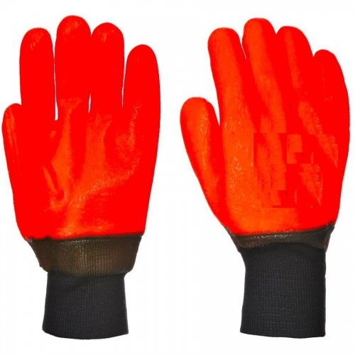 Winter warm Cold protection weatherproof Hi vis orange jersey glove for cold storage Freezer work