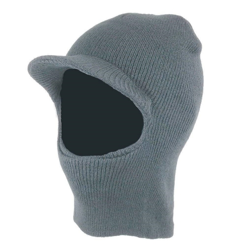 Gray One Hole Double layer Acyrylic knitted Face Mask with Brim Visor