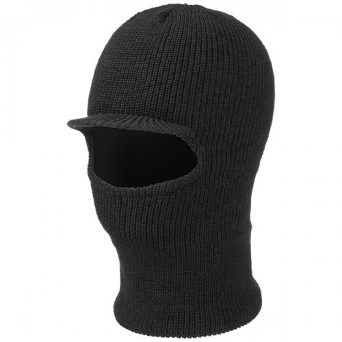 Black Open Face Double layer Acyrylic knitted Balaclava with Brim