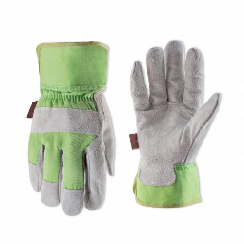 Deliwear Kids Garden Suede Cowhide Leather palm Work Gloves for Landsaping Gardening