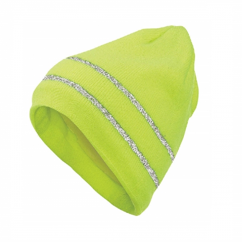 Deliwear Fluorescent green Thermal Acrylic Knit Tuque with Reflective stripe trim for Cold work Outdoor Sports