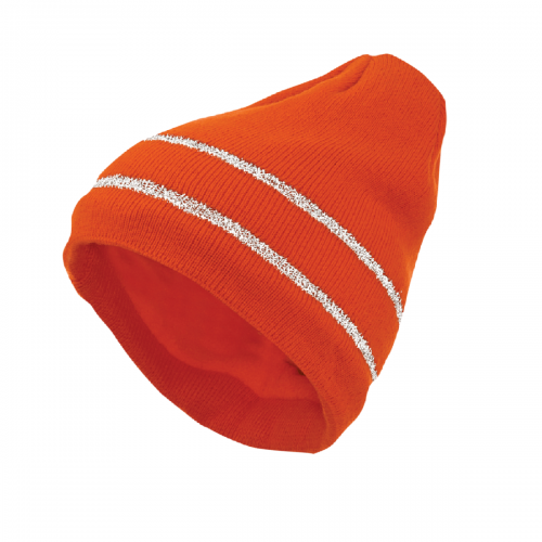 Deliwear Fluorescent Orange Thermal Acrylic Knit cap with Reflective stripe trim for Cold work Outdoor Sports