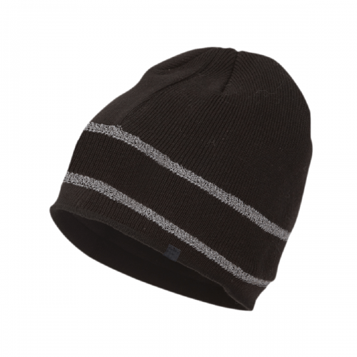 Deliwear Black Thermal Reflective stripe Acrylic Knit hat for Cold Outdoor Work Sports