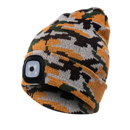 Winter warm Bright LED Headlight thermal Acrylic Camouflage Knit Cap for Camping Running Hunting