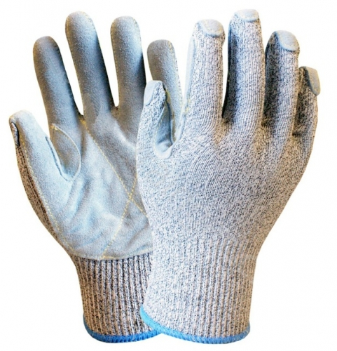 Deliwear Puncture resistant Leather Palm Cut Resistant Gloves for Metalworking Glassworking Woodworking