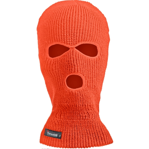 Thinsulate insulated lined Acrylic knitted Three holes Hi Vis Fluorescent Balaclava for Balaclava Mask for Ski Cycling Chilled room Freezer