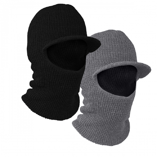 One hole Open Face Double layer Acyrylic knitted Balaclava Face Mask with Brim Visor