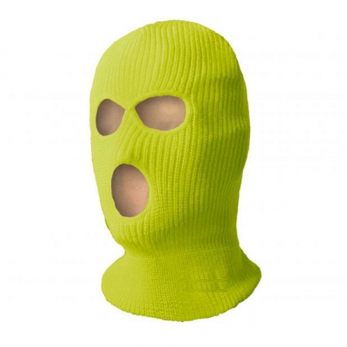 Thinsulate lined Hi Vis yellow Three Holes Balaclava for Ski Cycling Chilled room Freezer