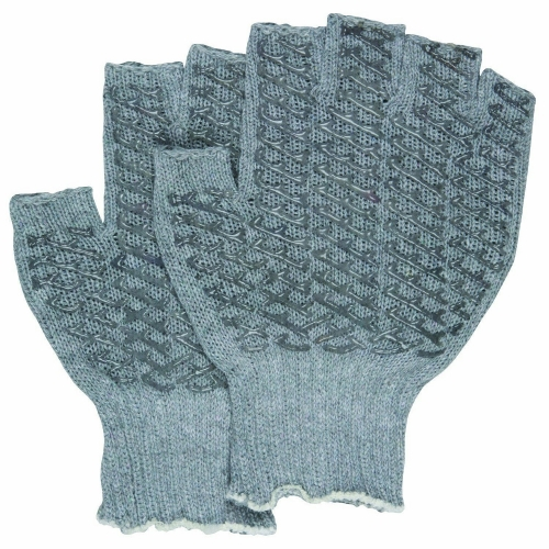 Two sides clear PVC Criss Cross Gray Grip Honeycomb fingerless Glove for touch screen plumbing assembly tiling