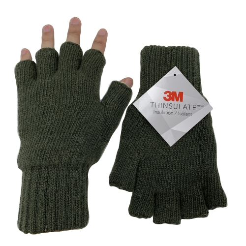 Winter Thermal Warm Ragg Wool Knitted 40g Thinsulate Insulation Fingerless Safety Work Gloves
