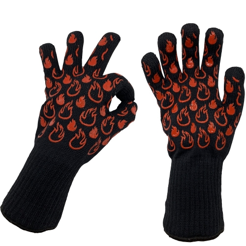 EN407 Rated 932F Heat resistant FR Aramid Oven BBQ Grill Glove Handschuhe Mitt for Cooking,Baking,Kitchen,Outdoor