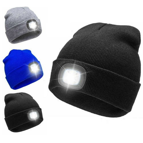 Winter warm USB Rechargeable Christmas Led light torch knitted beanie cap for Fishing,Work,Camping, Hunting, Running