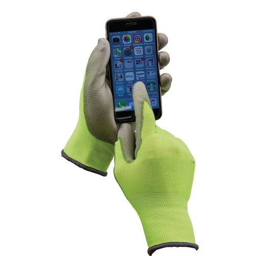 Nitrile Coated Grip Safety work Warehouse Package Automotive gloves with Smart Tip Touch screen compatible fingertips